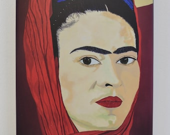Frida Kahlo portrait artist finished print from original painting Looking Glass by