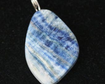 Pendant, Rare, from Turkey, Lapis Lace Onyx, silver twirl bail 67ct