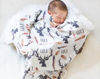 Personalized Baby Blanket-Deer Antlers And Arrows-Feathers-Outdoors-Rustic-Hunting-Custom Name-Nursery-Swaddle-Printed Blanket -Baby Boy
