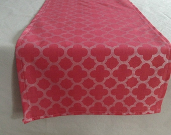 Designer Fabric Kitchen Dining Table Runner-Pink Table Runner-Silver Table Runner-Quatrefoil -Runner-Ready to Ship