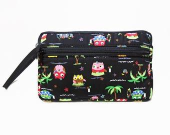 Owl zipper pouch, Wristlet wallet, Cosmetic bag, Cell phone bag, iPhone wallet case, Bird clutch, Black clutch