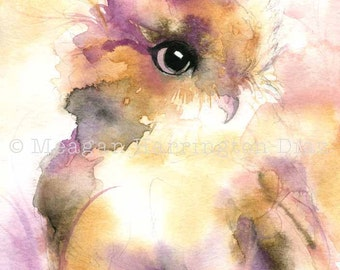 Owl Painting - Owl Art - Watercolor Fine Art Print - Whimsical painting