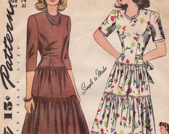 Simplicity 4482, 1940s Easy Long Torso Layered Skirt Dress Vintage Sewing Pattern, Size 14, Bust 32, Complete UnPrinted