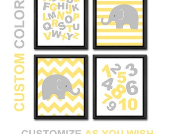 alphabet nursery wall decor yellow gray, ABC nursery elephant, alphabet playroom art, elephant nursery, abc baby room decor, baby gift
