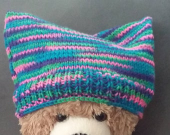 Women's March inspired Cat Ear handknit hat