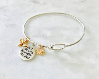 Not All Who Wonder Are Lost with Lotus Flower Bee Charm Bangle Bracelet - Solid 925 Sterling Silver 18k Rose Gold Plate - Insurance Included