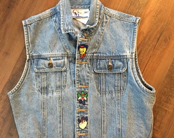 Vintage Looney Toons Warner Brothers 90s Denim Vest Patches size large