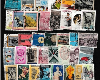 50 Italy Postage Stamps - Use in Decoupage, Scrapbooks, Travel Theme Collage, Magnets, Jewellery, Etc.