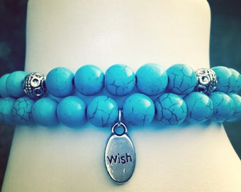 Turquoise Howlite Stacking Stretch Bracelets with Silver Accent Beads and WISH charm