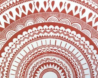linocut - SHAMISHA // 11x14 art print // printmaking // block print // red, brown // geometric // sun, star // original // mandala // 8x10