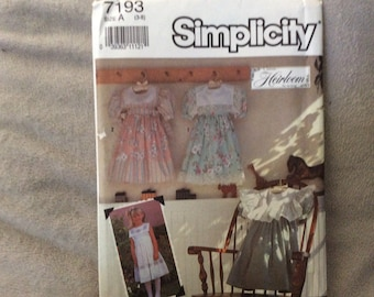 Simplicity pattern #7193 child's dress size 3-8