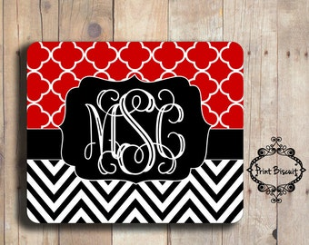 Personalized Mouse Pad, Red & Black Mouse Pad, Custom Mouse Pad, Trellis Mouse Pad, Chevron Mouse Pad, Monogram Mouse Pad, 41MP