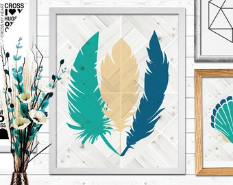 3 Feather Print, Beach prints, Coastal Poster, Feathers, Printable Art, Nursery Print, Instant Download, Wall Decor