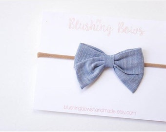 Chambray Hand Tied Fabric Bows, Baby Girl, Toddler, Girls Fabric Bow Headband or Hair Clip