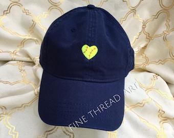Baseball or Softball Heart Mini Design Cap Hat FABRIC strap Adult or Ladies Size Sports Mom Fan Spring School