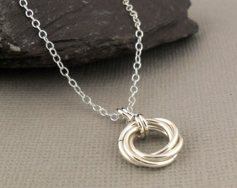 Love Knot Necklace Sterling Silver - Love Knot Jewellery - Mobius Flower Chainmaille - Silver Jewellery 925 - Chainmaille Jewellery