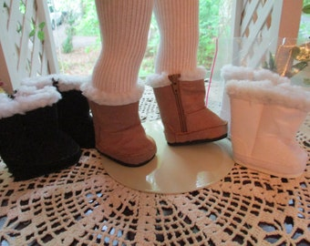Furry Suede Doll Boots to fit your American Girl Doll in Black Brown or White