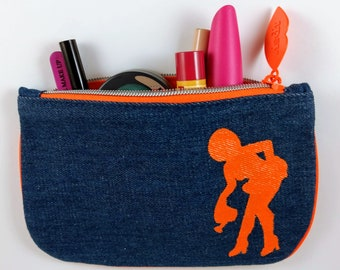 Denim pin-up girl cosmetic bag, hand painted