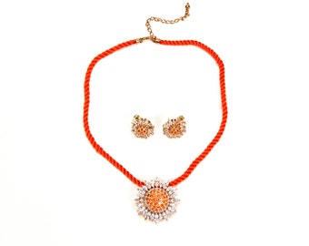 Real Collectibles by Adrienne Pave Sunburst Brooch Pendant Necklace and Earring Set 14kt Vermeil over Sterling Silver