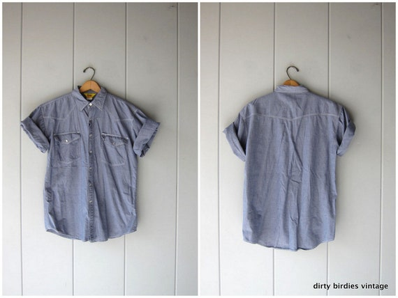 Vintage 90s Pearl Snap Work Shirt | Short Sleeve Cotton Denim Shirt | Hipster Engineer Mechanics Shirt Country Western Top Mens Large