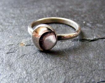 Silver RIng with crescent moon for stacking