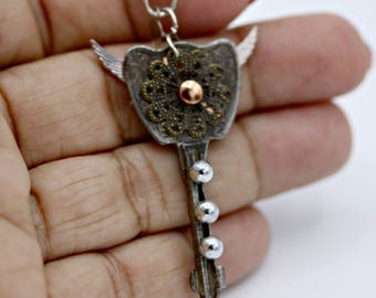 Steampunk Industrial Key with Wings Necklace on 18 Inch Chain