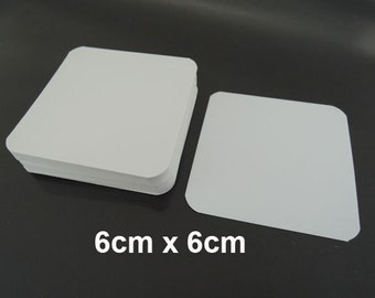 White Paper Tags without Hole 6cm x 6cm - 50pcs White Tags Square Tag Price Tags Hang Tags Gift Tags White Card Tag Plain Tags