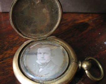 Antique Early Victorian Double Locket - Tintype - Gold Tone - 1840s to 1850s - As Is