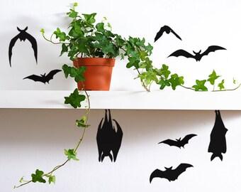 Black Bats Halloween Decor, Vinyl Bat Decals, bat decorations, creepy halloween decor, Halloween props, Halloween pumpkin decals
