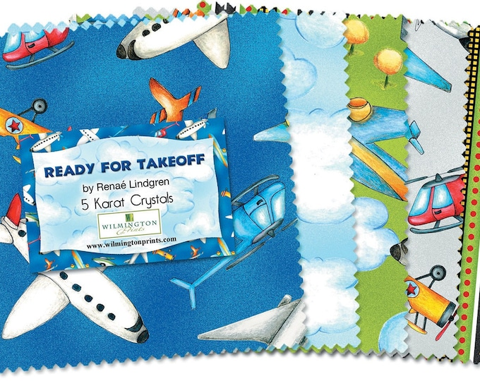 READY FOR TAKEOFF, Children's Cotton Fabric 5 in Squares by Wilmington Prints