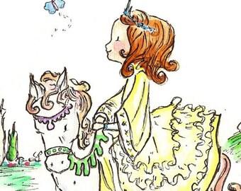 Children Art Print. A Princess and her Pony-AUBURN. PRINT 8X10. Nursery Art Home Decor