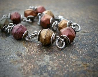 bronze glass bead bracelet, czech glass beaded bracelet, fall color bracelet, wire wrapped bracelet