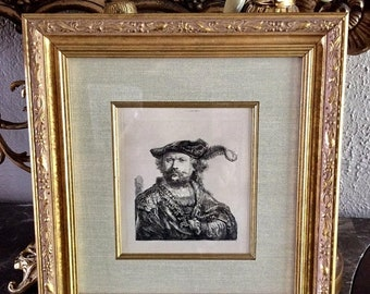 Sale Antique Engraving ca.17th Century Rembrandt van Rijn Self Portrait Signed in Plate Framed Art Amand Durand?