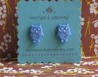 Vintage Style Blue Owl Studs Earrings