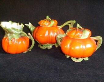 Royal Bayreuth Tomato Teapot, Creamer & Sugar  - PRICE INCLUDES SHIPPING