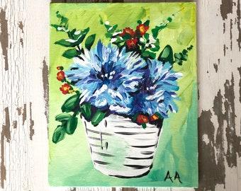Blue bouquet in acrylic