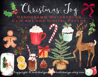 Christmas Joy Digital Scrapbook Clip art and Papers - Gold Glitter, Chalkboard, watercolor Christmas elements INSTANT DOWNLOAD