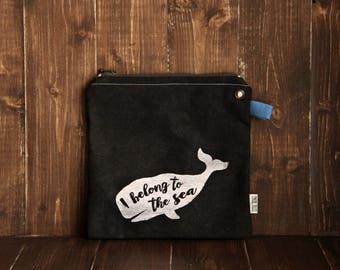 Summer bag - Canvas bag - Travel Clutch - Zipper Pouch - Screen Printed Whale Nautical Style