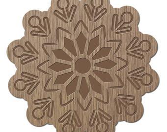 FLUORITE - CRYSTALS - laser cut wood - brooch
