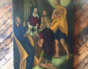 Vintage Neoclassical Large Oil Painting