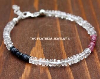 Ruby And Sapphire Bracelet - Quartz Crystal Sterling Silver Precious Gemstones - Patriotic Bracelet - July Birthstone - September Birthstone