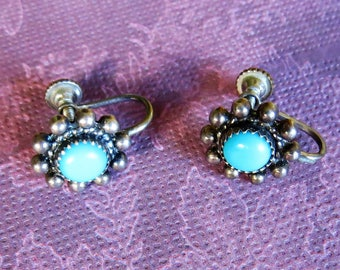 Vintage Southwestern Sterling Silver Turquoise Earrings