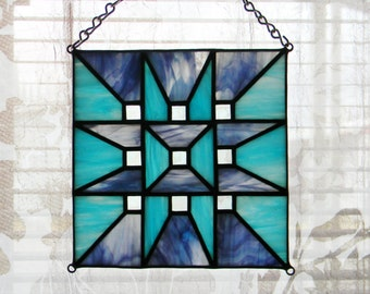 Geometric Stained Glass Suncatcher in Turquoise and Purple - Ready to Ship