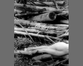 Stacys Back at Deadfall - Black and White Fine Art Nude Photography - Fine Art Print