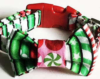 Red & Green Christmas Candy Cane Bow Tie Collar for Male Dogs and Cats