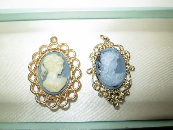 2 Vintage goldtone cameo resin pendants