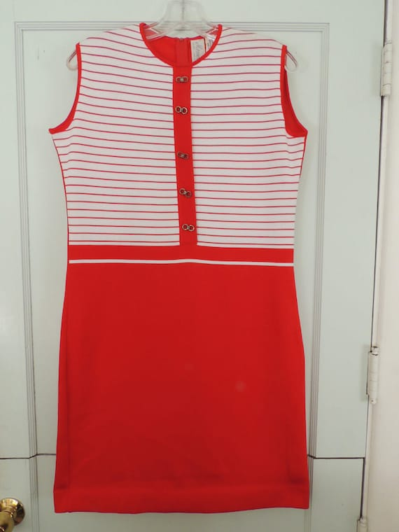 Vintage 1960's Mod Knit Shift Dress, Red & White, Monelli Italy THAT GIRL STYLE!