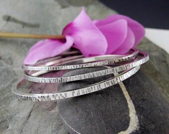 Set of 3 Sterling Silver Bangle Bracelets - Sterling Silver Bangle Set - Textured Sterling Bangles - size Large medium or Small