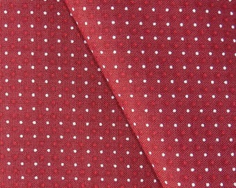 Red polka dot fabric white, 110 cm wide