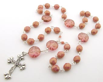 Anglican Rosary - Golden Luster Coral Pink Glass Handmade Anglican Prayer Beads - Protestant Prayer Beads - Anglican Gift - Christian Gift